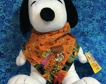 Reversible Stylish Bandana Style Drool Bib With Snoopy and Fall Leaves