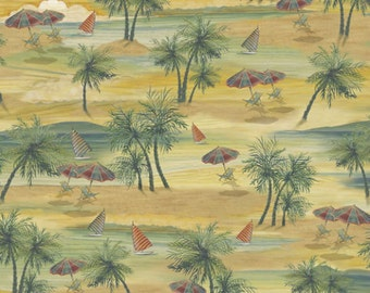 Quilting Treasures Fabric PARADISE DELIGHTS Beach Scenic- yards