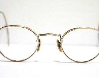 Antique 1920s Eyeglasses // 20s 30s Rare Vintage Frames // Art Deco //  Round Lens // AM007