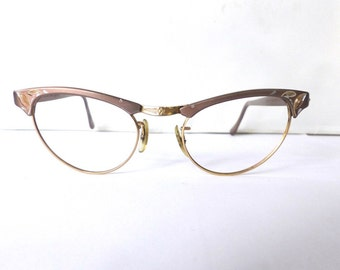 Cats Eye Horn Rimmed Eyeglasses Women's Vintage 1950's Taupe w/Gold by Aircraft USA Without Lenses