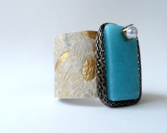 """leather cuff bracelet  -acid washed hair on hide with chained blue agate -  2"""" wide"""