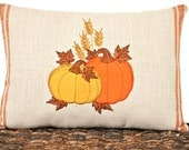Pumpkins Accent Pillow Fall Autumn Thanksgiving Rustic Mustard Orange Brown Gold Decorative Repurposed