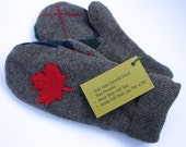 Upcycled Wool Mittens - Grey Canadiana with Argyle Palm - Ready to Ship - OOAK