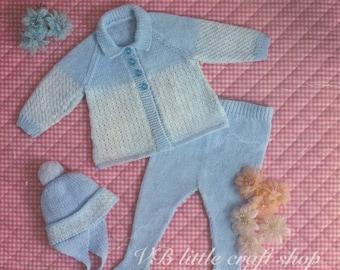 Baby's pram set knitting pattern. Instant PDF download!