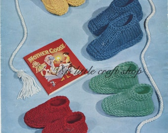 Children slippers knitting pattern. Instant PDF download!