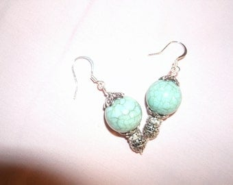 Turquoise and Silvertone Ear Bobs