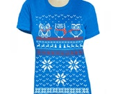 Ugly Christmas Sweater Owl t shirt - Womens -  Owl Sweater shirt Owl Scarf Owl Christmas theme 3 owls Snowflake sweater shirt Tacky Style