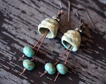 Ceramic Pod Earrings - Turquoise and Pale Green - Rustic Earrings - Boho - Earthy - Bead Soup Jewelry