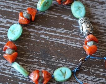 Woodland Bracelet - Turquoise and Orange - Boho - Whimsical Bracelet - Owl Bracelet - Knotted Boho Bracelet - Orange - Bead Soup Jewelry