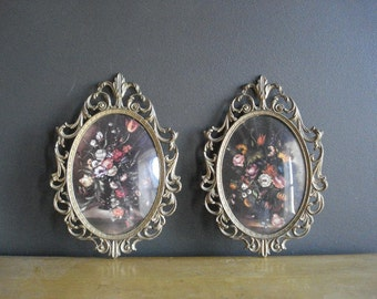 Two Oval Frames - Vintage Metal Picture-Surrounds with Convex Glass - Floral Prints or Illustrations