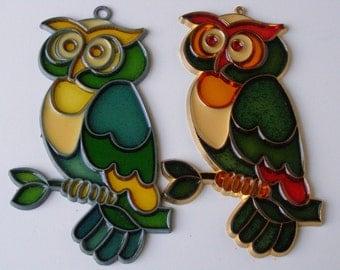 Owl Suncatcher Tree Ornaments set of 2 Mock Stained Glass