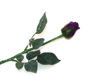 12 Grape Purple Princess Rose Buds - Barely Blooming - Artificial Flowers, Silk Roses - PRE-ORDER
