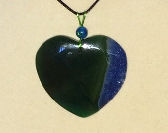 Wire Wrapped Agate Heart Valentine Pendant