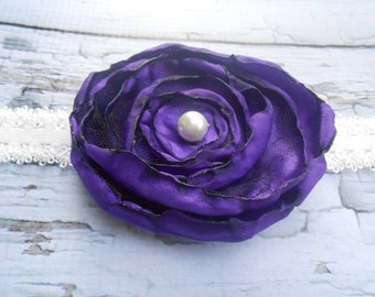 Layered satin flower headband  hand cut satin and lace in Purple and White pearl baby toddler girls vintage