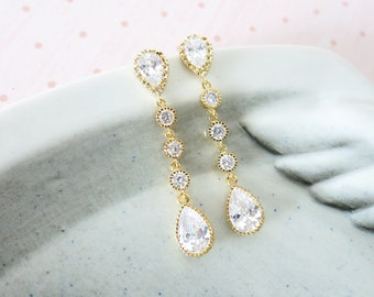 Francette - Bridal Earrings, Bridesmaids, Clear White Teardrop Cubic Zirconia Crystal, Long Gold Earrings