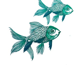 minimalist watercolor print: Two Fish Blue