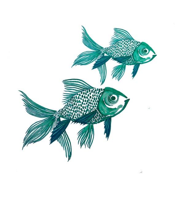 minimalist watercolor print: Two Fish Blue