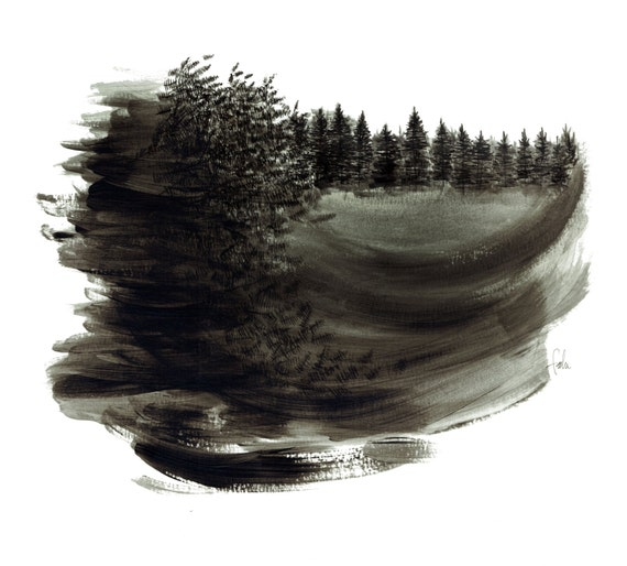 minimalist watercolor print: Distant Farms