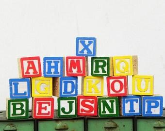 19 vintage toy game alphabet blocks letters numbers DIY Repurpose
