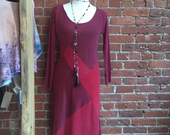 Patchwork cotton dress- upcycled eco friendly- burgundy- recycled womens clothing- fall fashion - t shirt dress -  small medium- midi - long