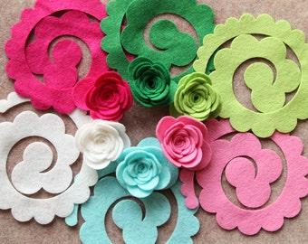 North Pole - 3D Rolled Roses Large - 12 Die Cut Wool Blend Felt Flowers - Unassembled Rosettes