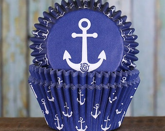 Navy Anchor Cupcake Liners, BakeBright Cupcake Liners, Navy Cupcake Liners, Baking Cups, Cupcake Cases, Cupcake Wrappers (60)