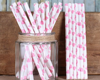 Pink Heart Cake Pop Sticks, Paper Cake Pop Sticks, Wedding Cake Pop Sticks, Pink Sweet Sticks, Treat Sticks, Short Paper Straws (25)