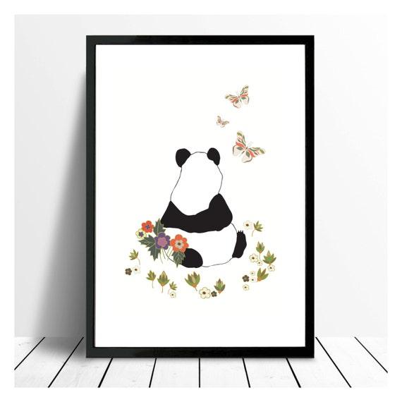 Panda Nursery Art | Boho Baby Decor | Pandas