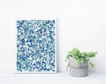 Blue and Teal Mystic Rose Abstract Art based on Math inspired by Jackson Pollock Giclee print Geeky decor Limited Edition splatter_blueGreen
