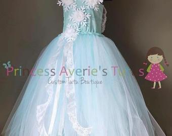 READY to SHIP snow princess tutu dress. Aqua and white with snowflakes. 2-5 years