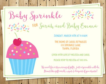 Baby Sprinkle Shower Invitations, Cupcake, Girls, with Poem, Pink, Aqua, Set of 10 Printed Invites, Free Shipping, CUPGL