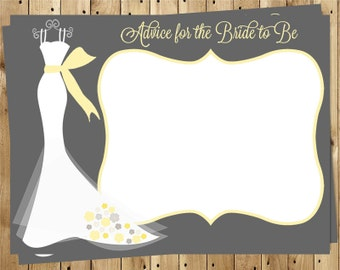 Bridal Shower Advice Cards, Wisdom for Wife, Yellow, Gray, Wedding, Set of 24 Printed Cards, FREE Shipping, ELGCO, Elegant Gown Coral