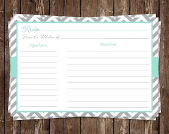 Recipe Cards, Chevron Stripes, Mint, Green, Gray, Bridal, Wedding, Shower, Housewarming, Gift, 24 Printed Cards, FREE Shipping, STLOM