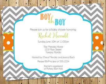 Baby Shower Invitations, Boy, Gray, Blue, Green, Polka Dots, Chevron Stripes, 10 Printed Invites, FREE Shipping, Ziggy Zag, Custom, Sprinkle