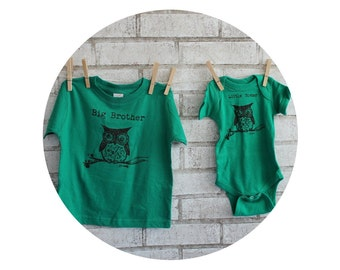 Woodland Owl Tshirts, Big Brother Little Sister Set, Cotton Tshirt and Baby Snapsuit, Onepiece Infant Creeper, Big sister little brother