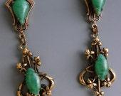 Peking Glass Gold Gilt Brass Art Nouveau Earrings