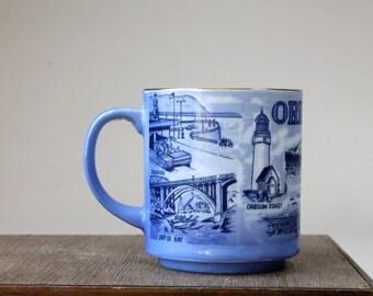 Vintage Oregon Picture Mug Portland Oregon Souvenir Mug Shades of Blue Scenes Of Oregon Gold Rim Coffee Tea Cup Made In Japan 1970s 1980s