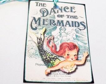 Retro Mermaid Tags - Variety Set 9 - Mermaid's Dance - Mermaid's Song - Mermaid's Treasure - Kitschy Mermaids - Mermaid Fantasy - Gift Tags