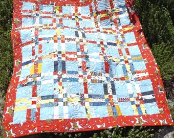Baby Quilt Red and Blue, Baby Boy Quilt, Child's Quilt