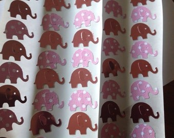 50 pc  pink Mirrored and pink Polka Dot Paper Elephant stickers New Baby Birthday