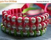 Clearance Sale NEON Ribbon Bracelets. Sallie Ribbon Bracelet Trio. Statement Pearls. Cuff BRACELET.