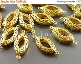 15% OFF 4 puffy marquise filigree connectors, elegant filigree brass jewelry pendants / wholesale jewelry supplies 1006-MG (matte gold, 4 pi