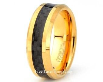 Yellow Gold Tungsten Carbide Wedding Band Black Carbon Fiber Inlay Polished Beveled Edge Mens Wedding Ring Anniversary Mans Gift