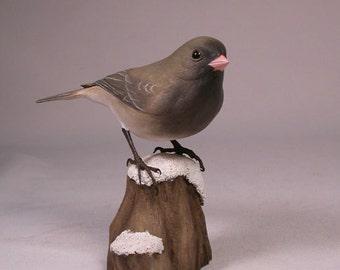 Dark-eyed Junco Wood Bird Carving