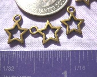 Bronze Star Charm 5 pieces Tibetan Silver Jewelry Supply