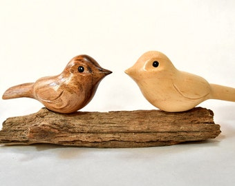 Wooden Birds, Wife Birthday Gift, Love Birds, Wood Carving, 5th Anniversary, Wood Sculpture, Christmas Mom Gift, Fall Decor