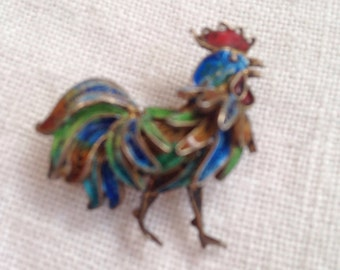 Enamel Rooster Brooch 800 Chinese Export