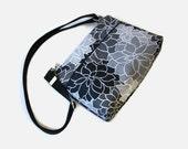 Black Gray Canvas Small Zippered Crossbody Purse - Fabric Messenger Bag - Small Black Handbag - Black Gray Cross Body Bag - Outside Pockets