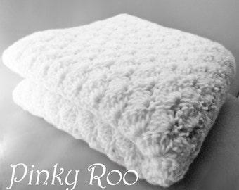 Crib Size Crochet Baby Blanket in solid color white / white nursery / unisex baby blanket