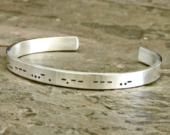 Personalized Morse Code Sterling Silver Cuff Bracelet with I Love you or  own Custom Engraving in solid 925 - BR778